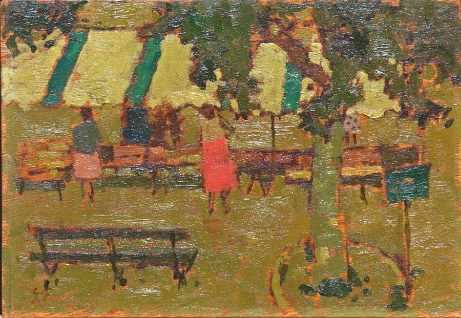 John Fox (1927-2008)  | Sanary, France 1957 | huile 7 x 10 po.