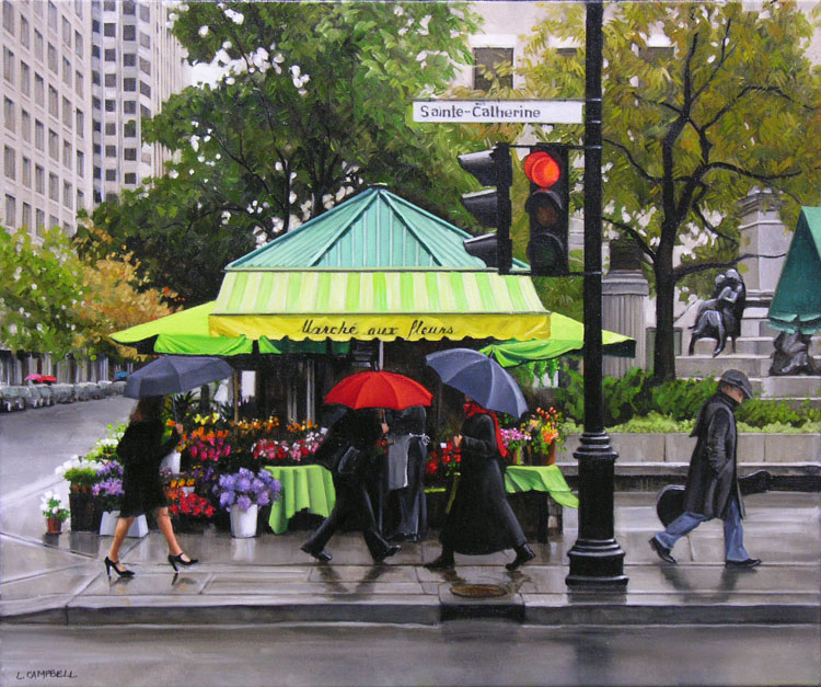 LAURIE CAMPBELL | St. Catherine St. and Phillips Square, 2013 | Oil on canvas 20 x 24 in.