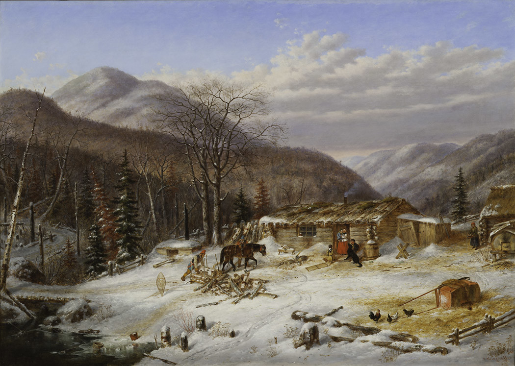 Cornelius Krieghoff (1815-1872)  |  The First Snow / Canadian Homestead, c. 1856