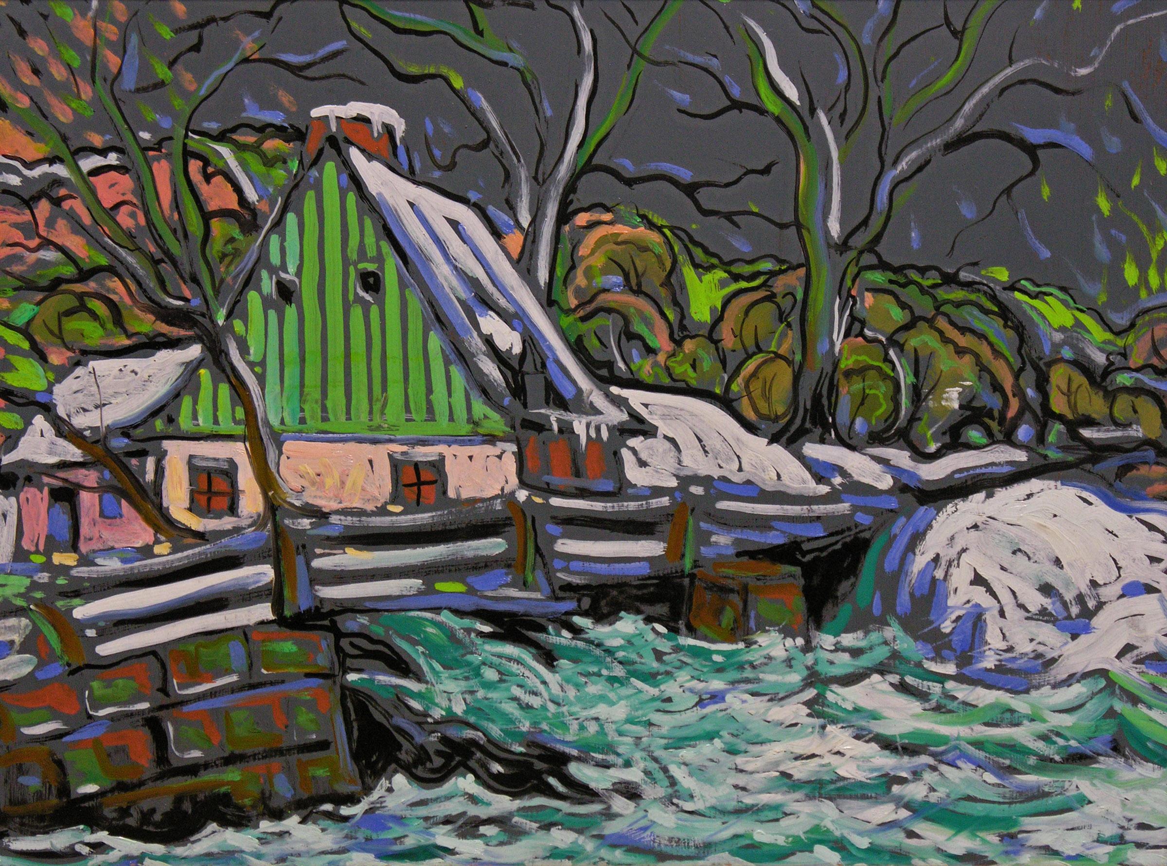 M.A. Fortin (1888-1970) | Scène d'hiver, vers 1940 | huile 18 sur 24 po