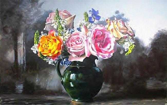 Roses in Green Pitcher - Ben Schonzeit