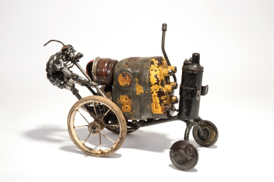 James Corbett Paddy's tractor - car part sculpture 13 x 17 x 9 inches