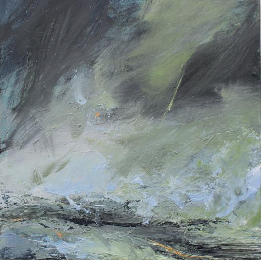 Janette Kerr Dancing over the Sea, Brindister, Shetland Oil on board, 30 x 30 cm
