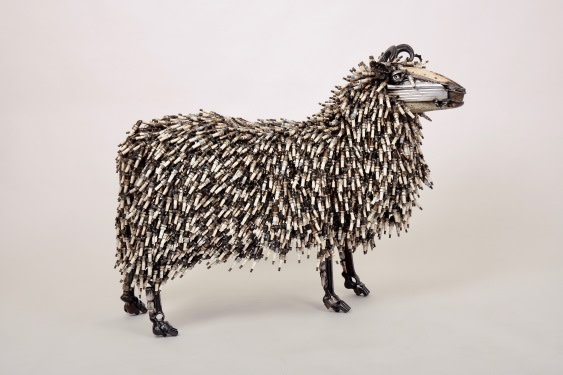James Corbett Sheep - car part sculpture