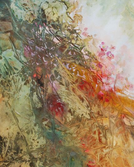 Ann Blockley Wild Roses in the Hedgerow Watercolour, 59.5 x 47 cm