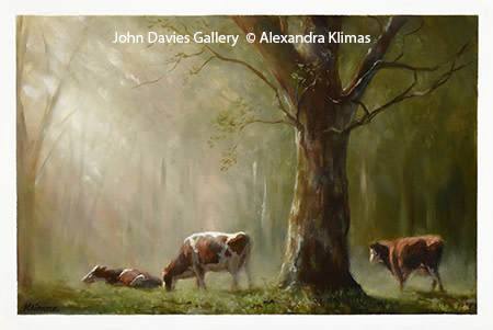 Alexandra Klimas Three cows Oil on panel, 20 x 30 cm