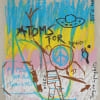 ernst koslitsch artwork shows a ufo text saying atoms for peace a piece sign in blue pink and yellow colors on cardboard