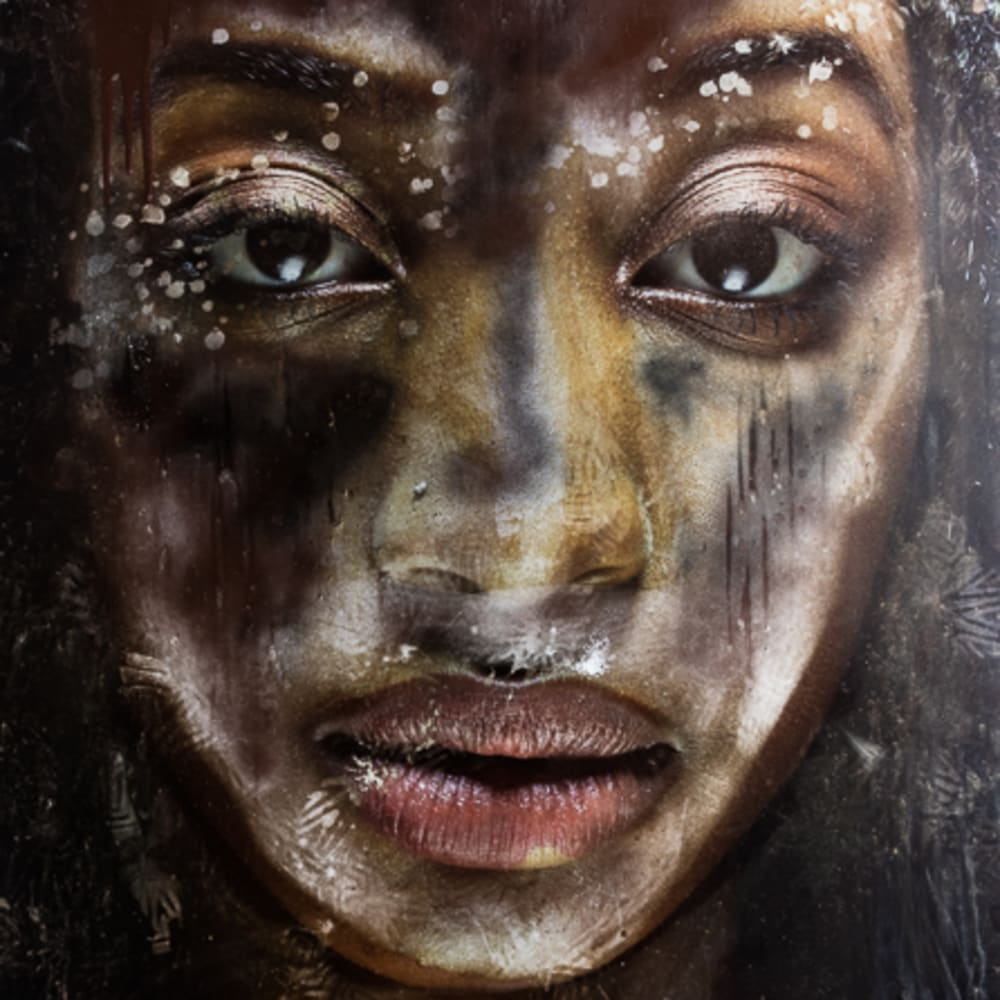 Ervin A. Johnson  #InHonor: Ashli, 2015  Photo-based Mixed Media  56 x 42 inches  Series: #InHonor