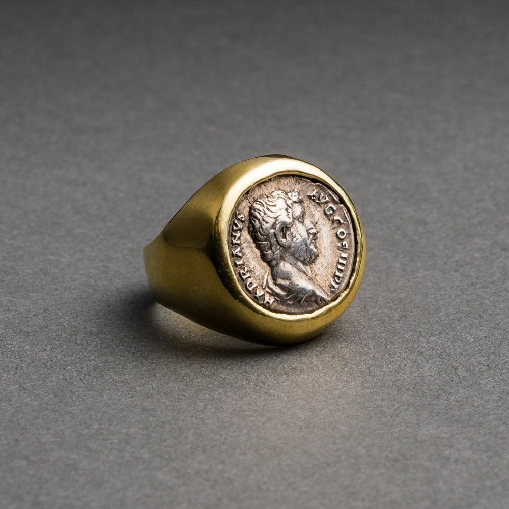 Silver Denarius of Roman Emperor Hadrian, 118 CE - 137 CE  Silver/Gold