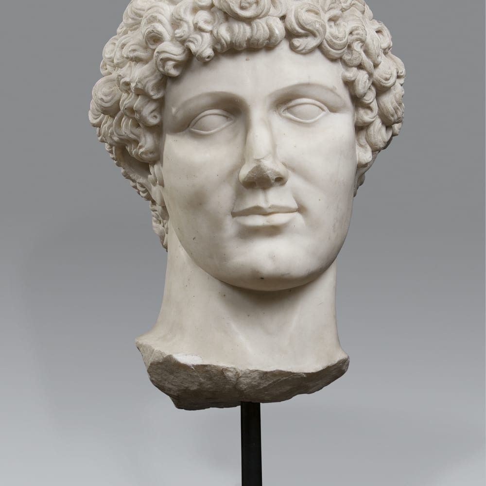 A finely sculpted monumental head of a young man, Rome, early 19th Century