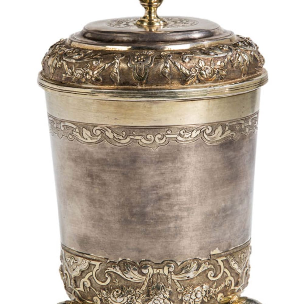 Philipp Stenglin, A gilt silver pierced beaker with lid, Augsburg, early 18th Century