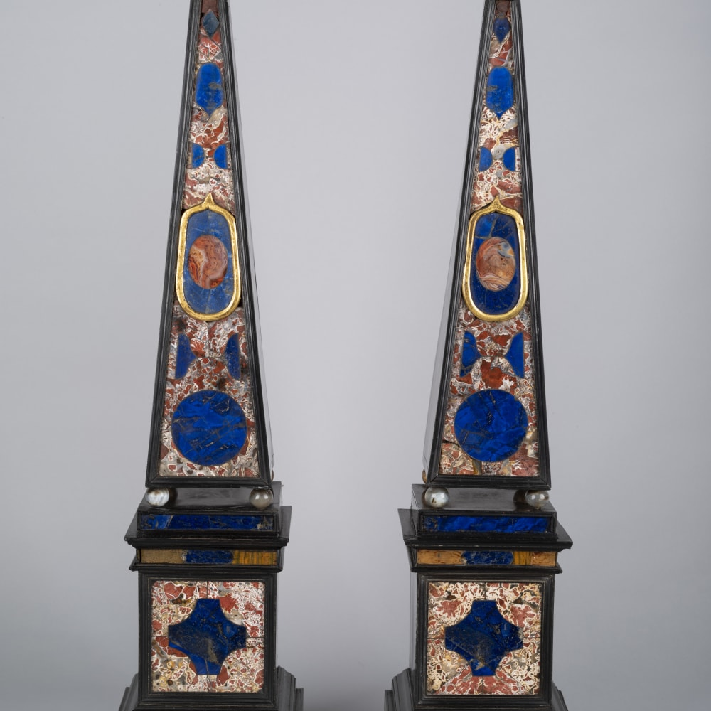 A pair of Italian ebony, Lapis Lazuli, Jasper, Agate and ebonised obelisks, 18th Century