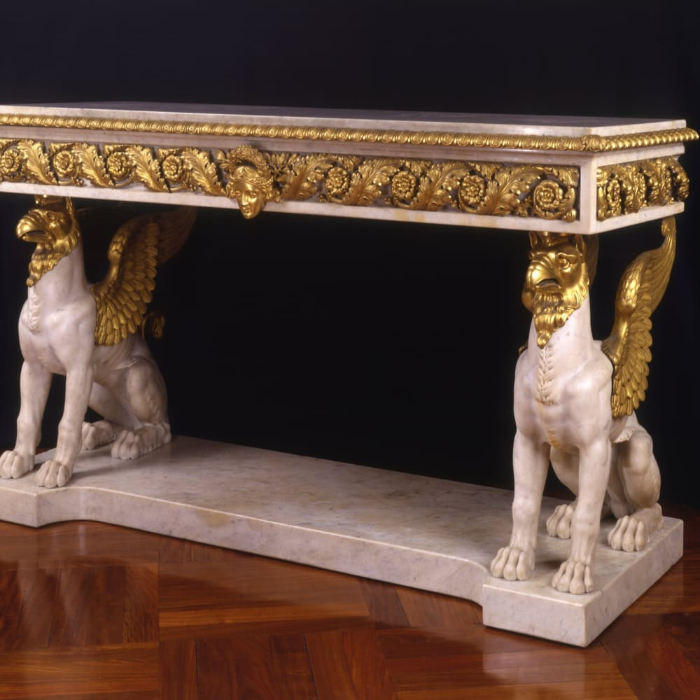 MARBLE AND GILT BRONZE CONSOLE TABLE