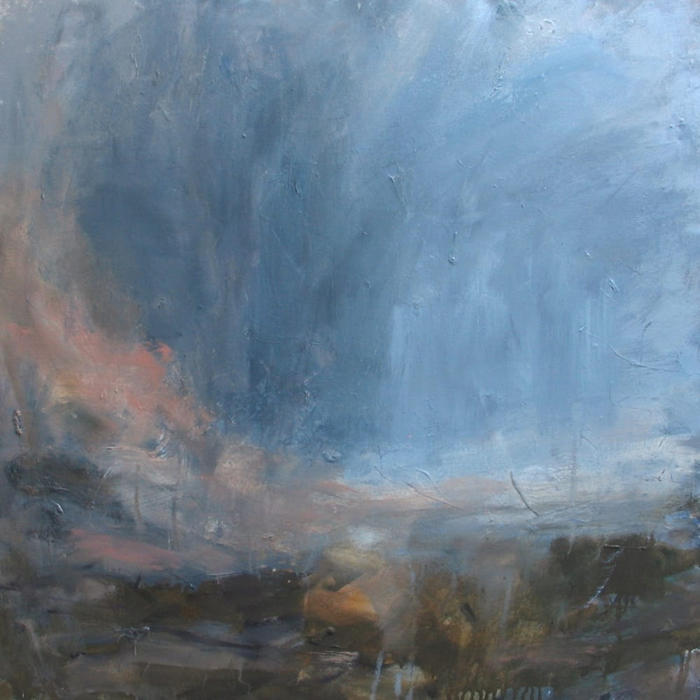 "Cloud sweep, blue mist  Louise Balaam  oil on canvas  80cm x 80cm (31.5"" x 31.5"")"
