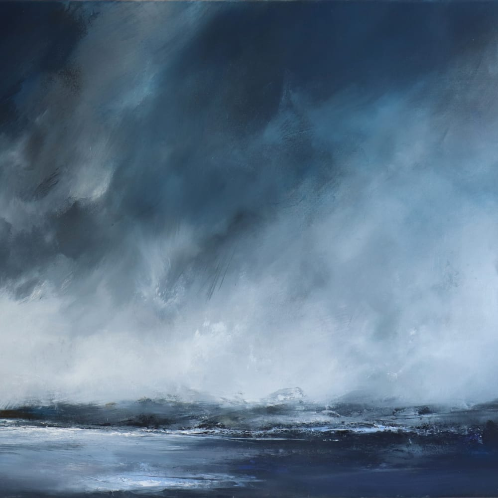 "Still day, Shetland  Janette Kerr  oil on canvas  80cm x 100cm (31.5"" x 39.4"")"