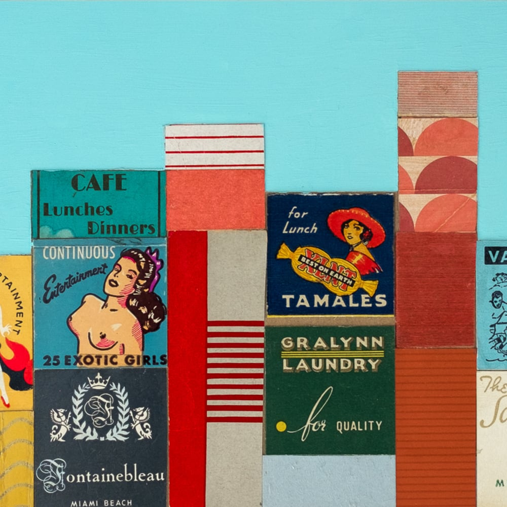 Andy Burgess  Rendezvous, Miami, 2017  Vintage Matchbook Collage on Panel  15.2 x 45.7 cm  6 x 18 in.
