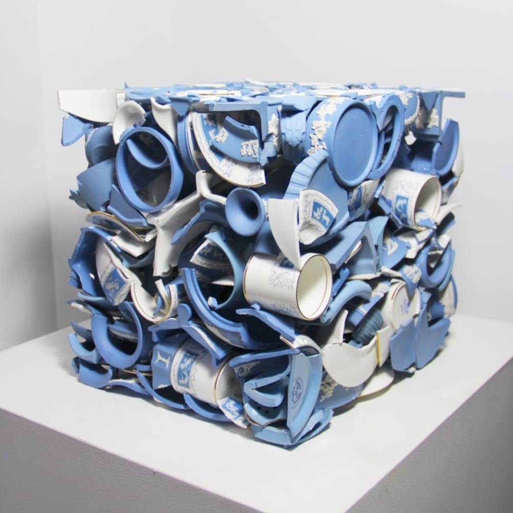 Sandra Shashou  Invaded by Love , 2018  Wedgwood Blue Jasper Ware Vintage  30 x 30 x 30 cm  11 3/4 x 11 3/4 x 11 3/4 in.