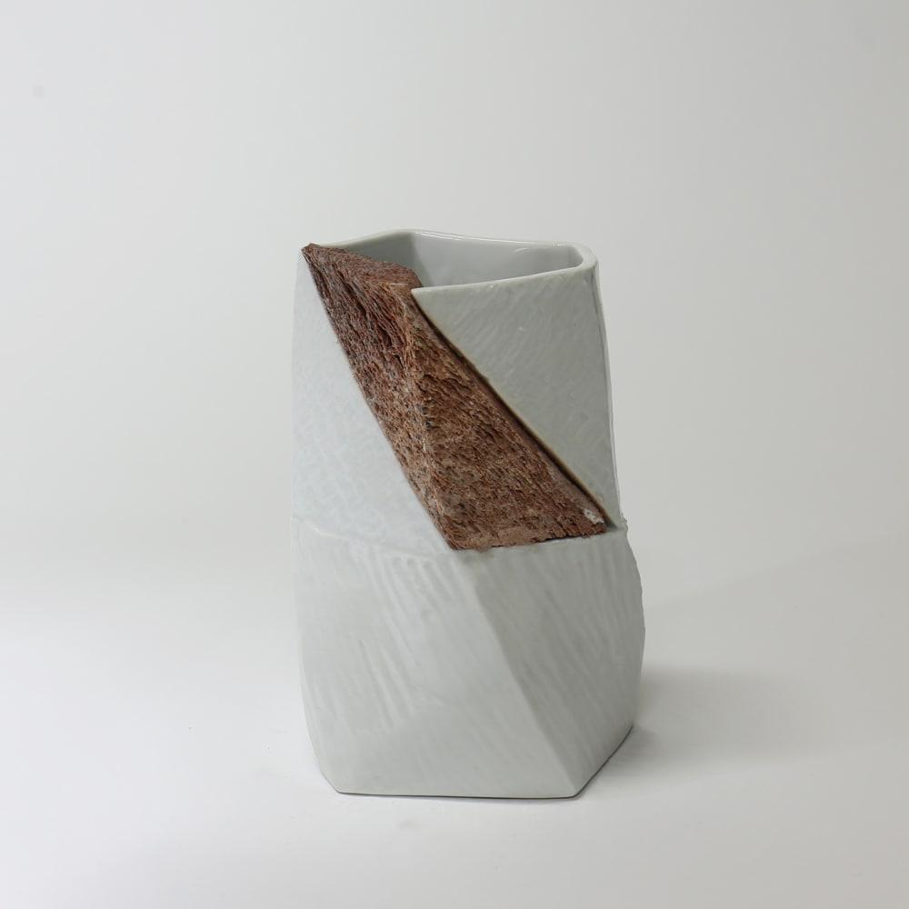 Jongjin Park  Definitely Ceramics I2gr, 2015  Porcelain, tissue paper with porcelain slip, colour stain  17 x 11 x 11 cm 6 3/4 x 4 3/8 x 4 3/8 in.