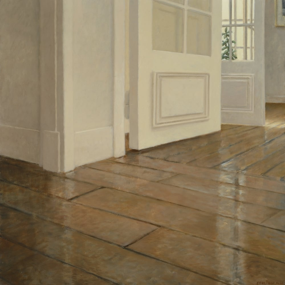 Anne-Françoise Couloumy  Les Parquets Rue Daru 3, 2014  Oil on Canvas  50 x 50 cm 19 3/4 x 19 3/4 in.
