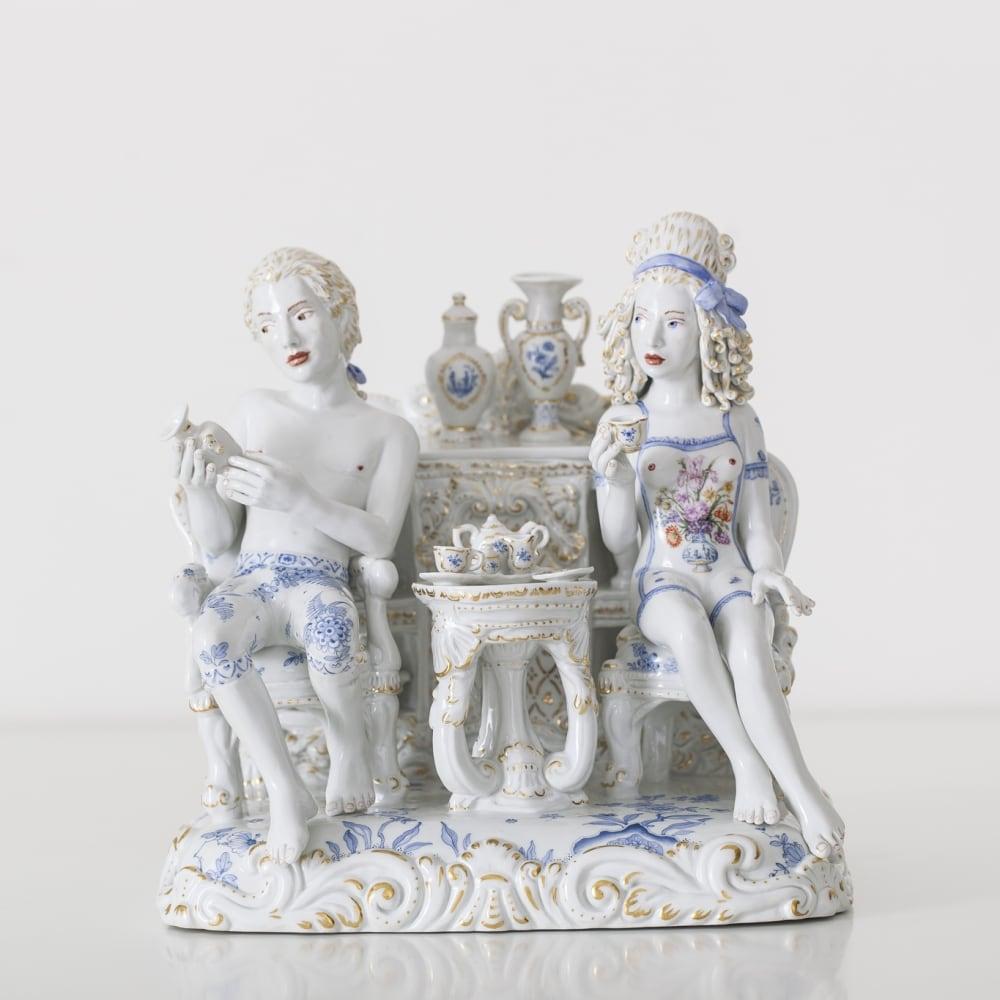 Chris Antemann  A Strong Passion, 2014  Meissen Porcelain  28 x 26 x 23 cm 11 1/8 x 10 1/4 x 9 1/8 in.  Edition of 25 plus 2 artist's proofs