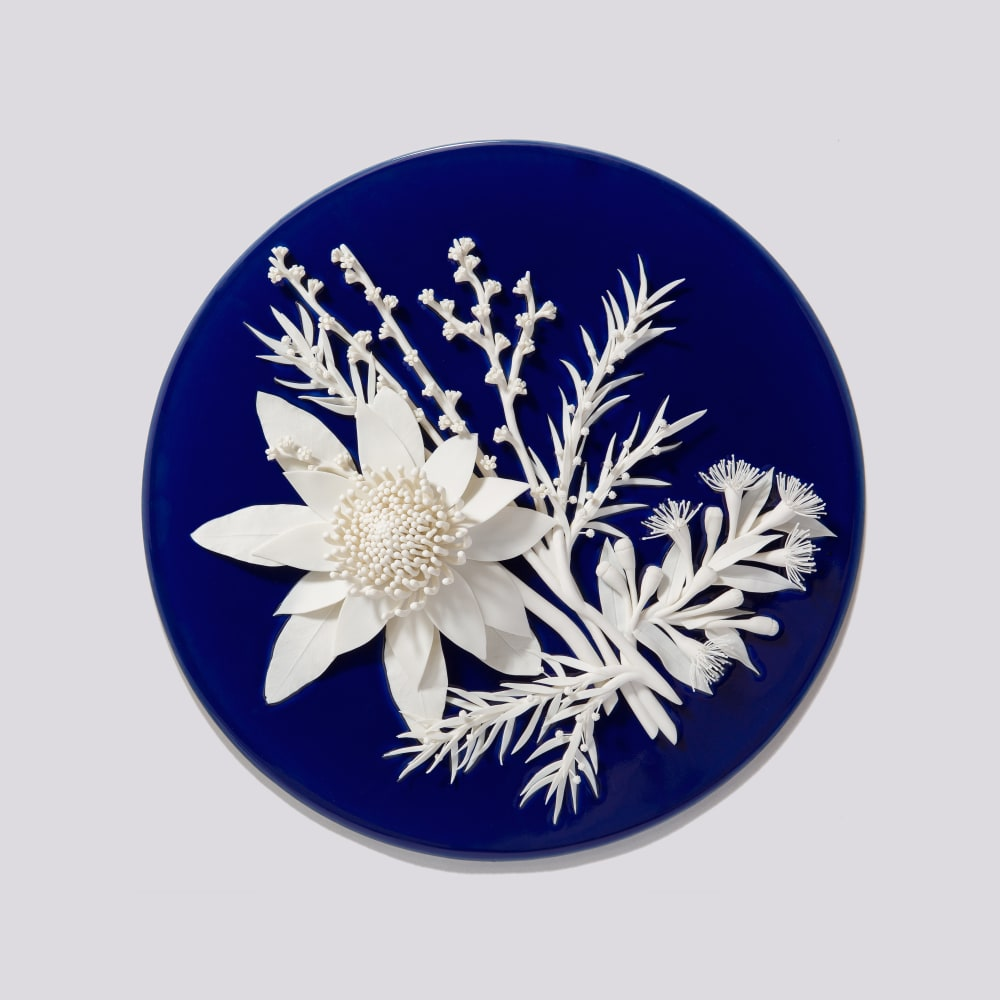 Alice Couttoupes  My Blue China, My Blue Flowers #18, 2018  Porcelain, cobalt glaze  40 cm diameter x 10 cm