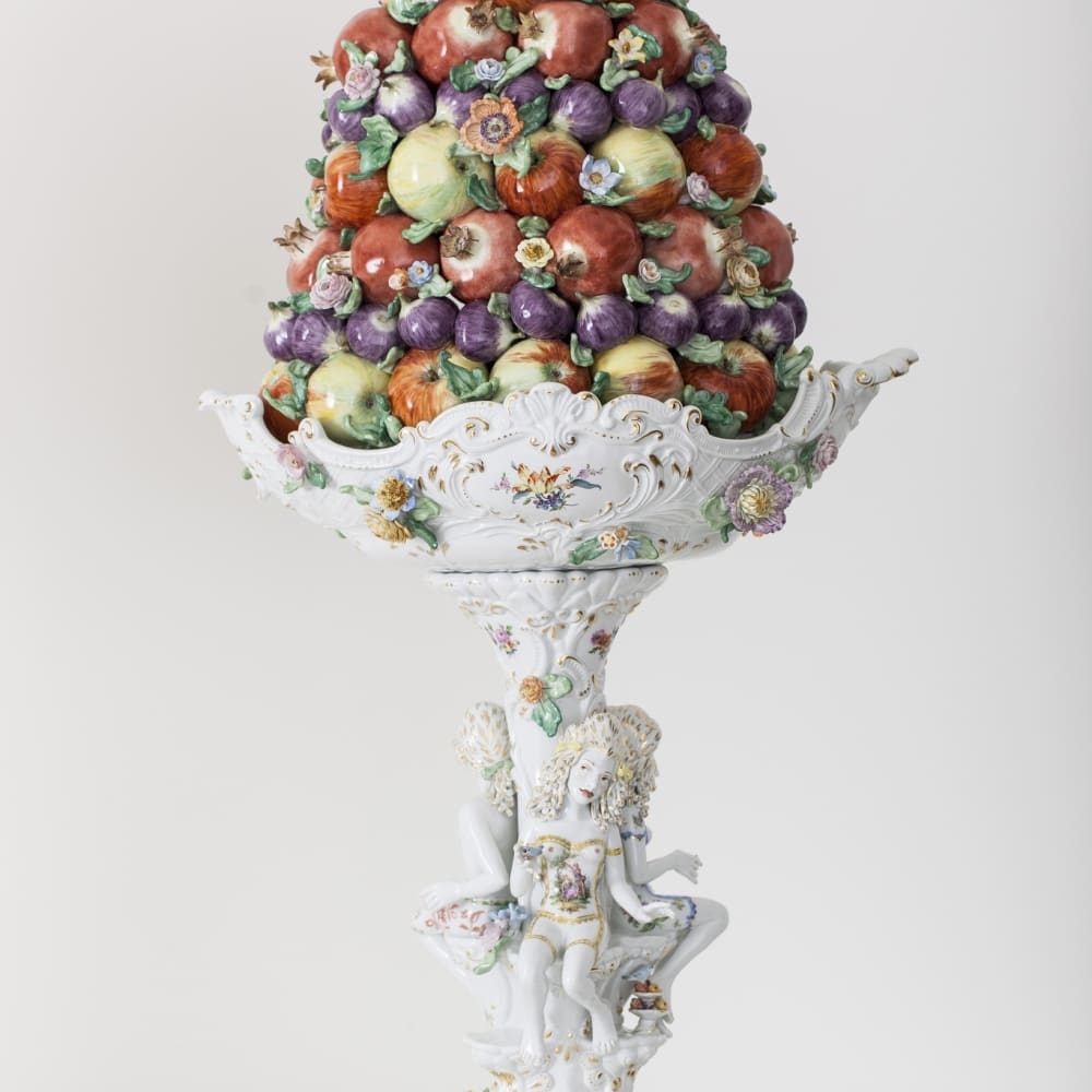 Chris Antemann  Fruit Pyramid II, 2014  Meissen Porcelain  104.1 x 53.1 x 36.1 cm 41 x 20 7/8 x 14 1/4 in.  Edition of 10