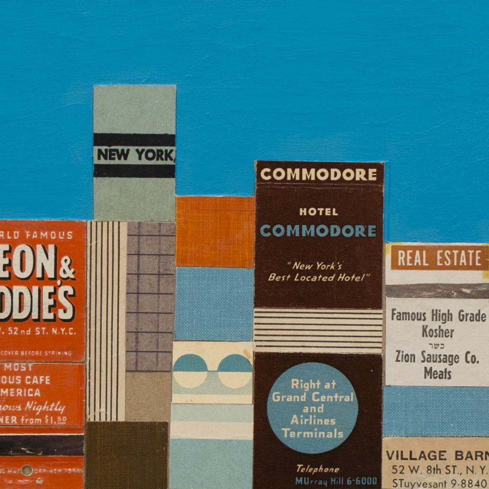 Andy Burgess  Leon & Eddie's, New York, 2017  vintage matchbook collage, gouache on panel  15.2 x 45.7 cm  6 x 18 in.