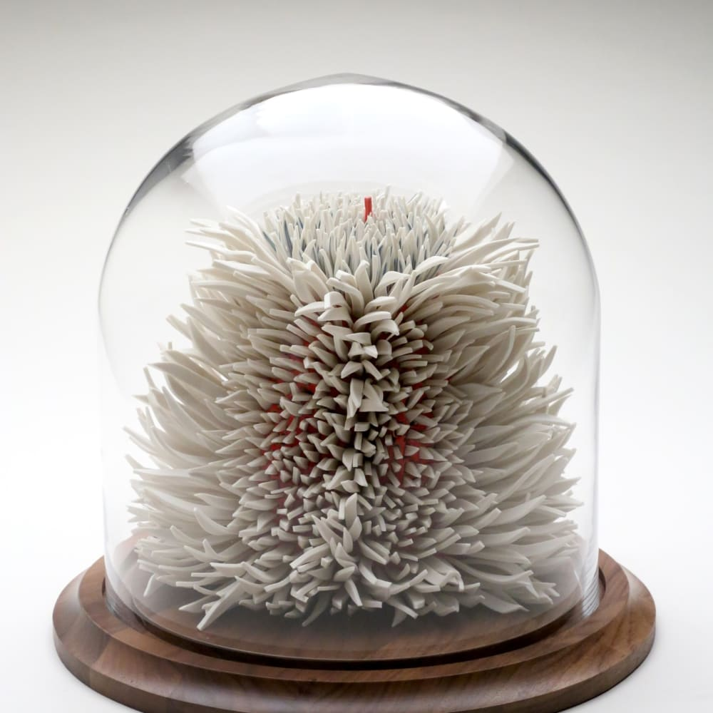 Zemer Peled  Flowered Lions 2, 2015  Porcelain shards, fired clay  27.9 x 25.4 x 20.3 cm 11 x 10 x 8 in.