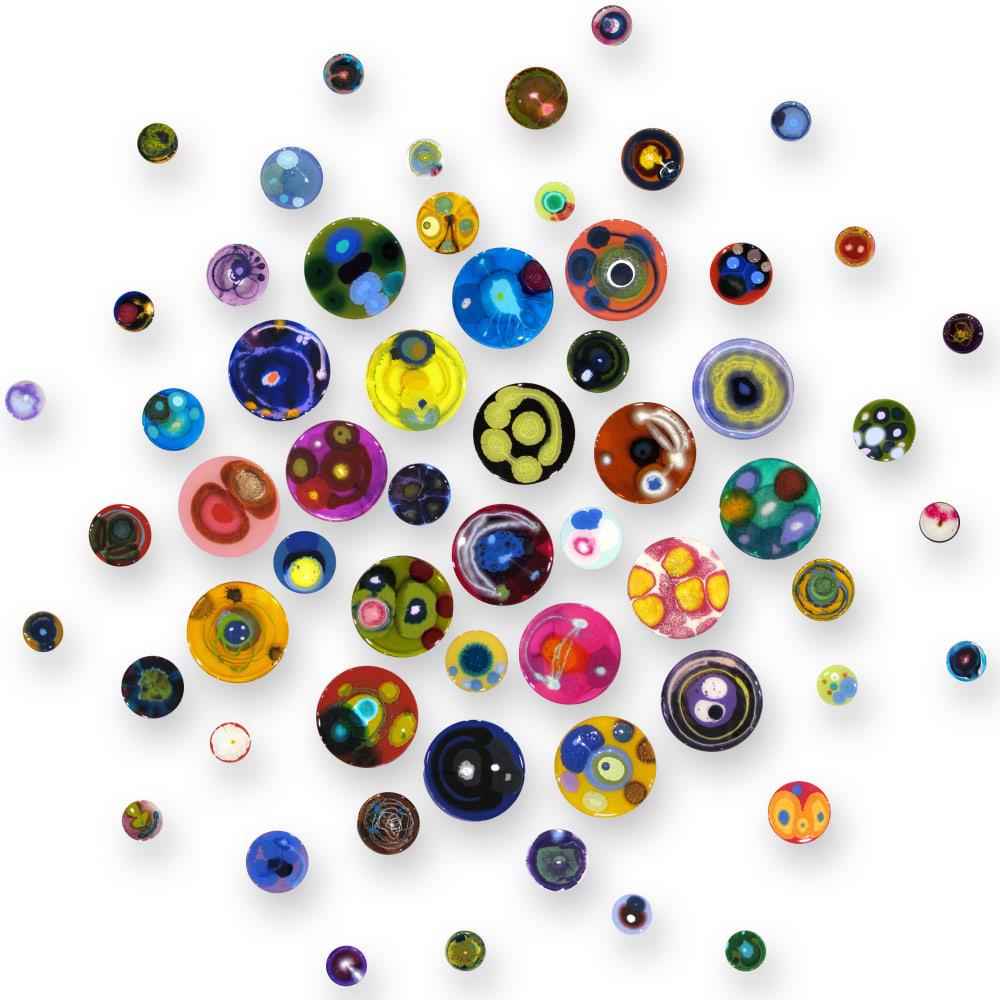 Klari Reis  Hypochondria Exploding, 60 pieces, 2020  Mixed Media, Petri Dishes, Tee Nuts and Steel Rods  Diameter: 152.4 cm  Diameter: 60 in.