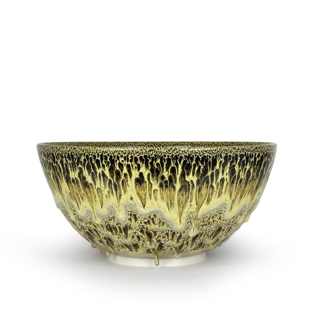 Albert Montserrat  Golden Bowl, 2020  Oil - Spot Glazed Thrown Porcelain  23 x 49 x 49 cm  9 1/8 x 19 1/4 x 19 1/4 in.