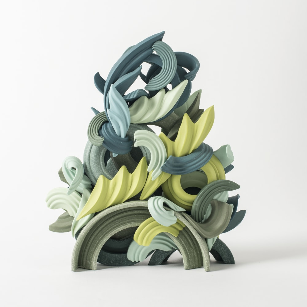 Jo Taylor  Pride & Joy Green I, 2017  Porcelain/ Grogged porcelain  25 x 20 x 9 cm  9 7/8 x 7 7/8 x 3 1/2 in.