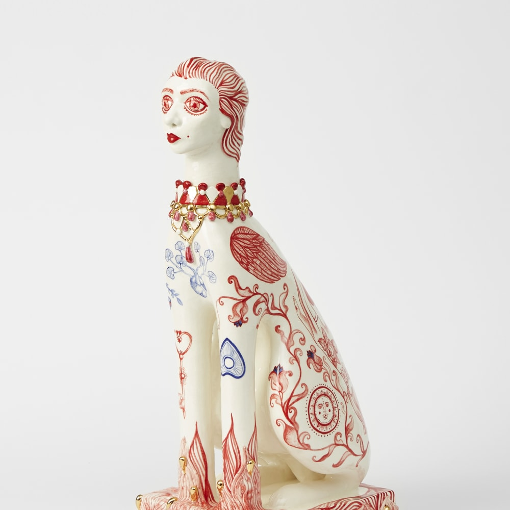 Anne Athena  Companion, 2019  Hand Built and Hand Painted Ceramics  63 x 30 x 22 cm  24 3/4 x 11 3/4 x 8 5/8 in.