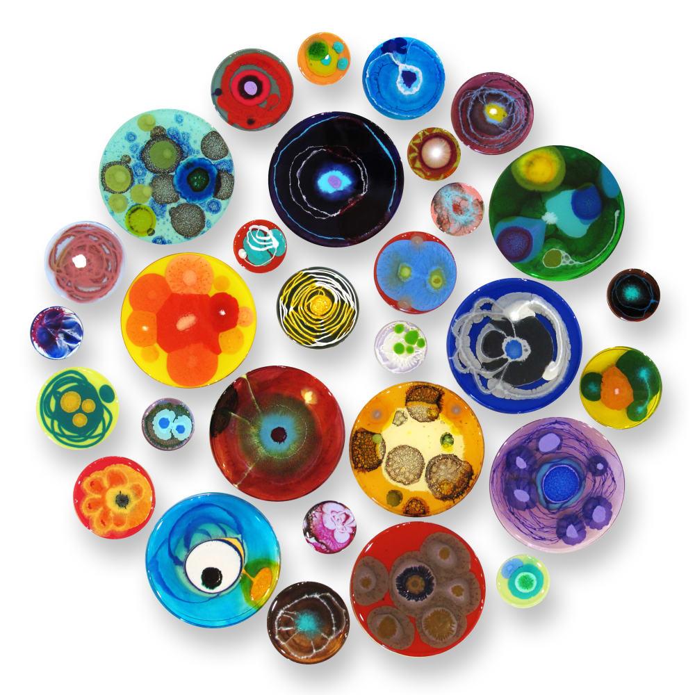 Klari Reis  Hypochondria, 30 pieces, 2020  Mixed Media, Petri Dishes, Tee Nuts and Steel Rods  Diameter: 71.1 cm  Diameter: 28 in.