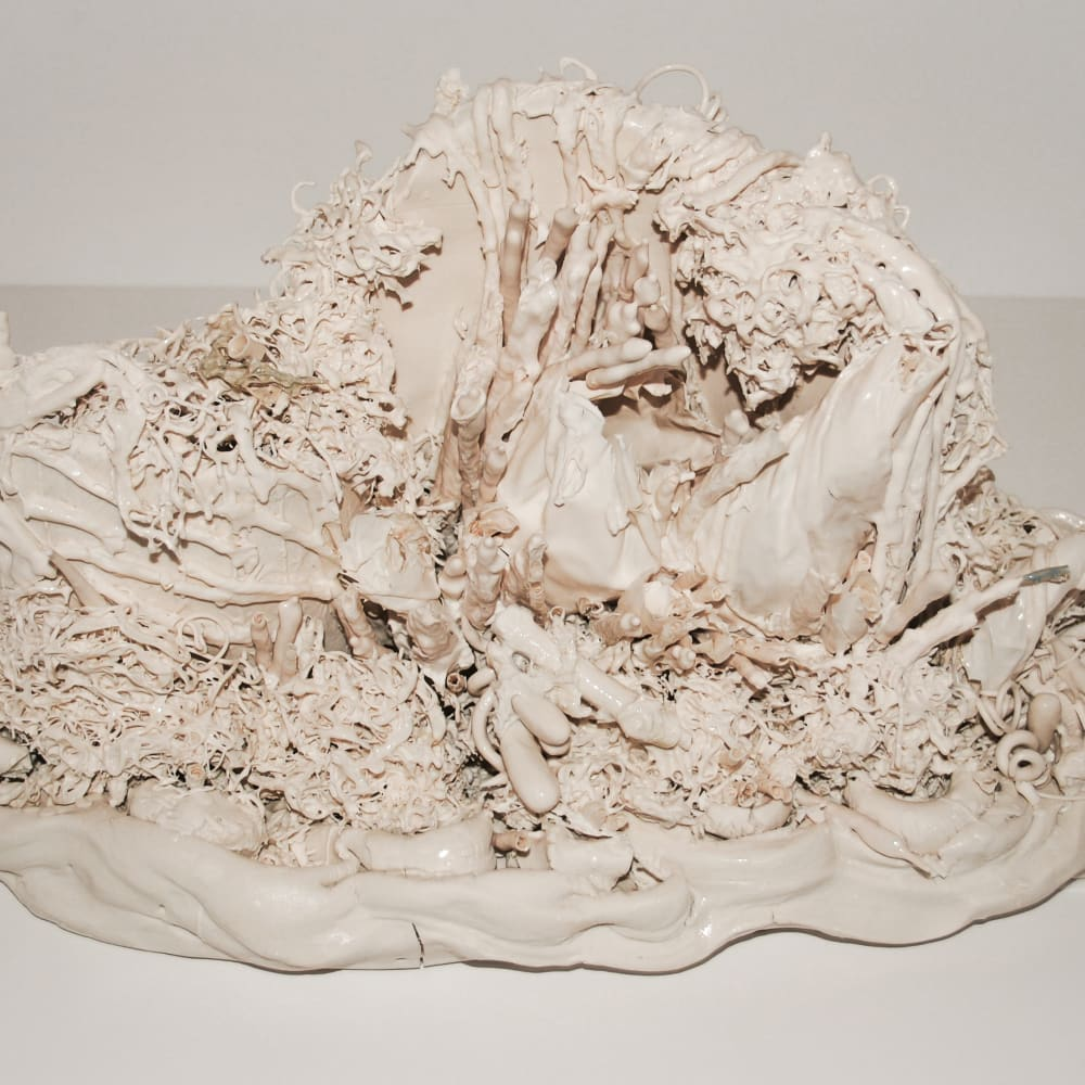 Lucille Lewin  Inanimation II, 2017  Porcelain  23.5 x 43 x 25 cm  9 1/4 x 16 7/8 x 9 7/8 in.
