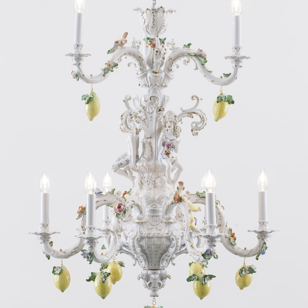 Chris Antemann  Lemon Chandelier, 2014  Meissen Porcelain  134.9 x 100.1 x 100.1 cm 53 1/8 x 39 3/8 x 39 3/8 in.  Edition of 10