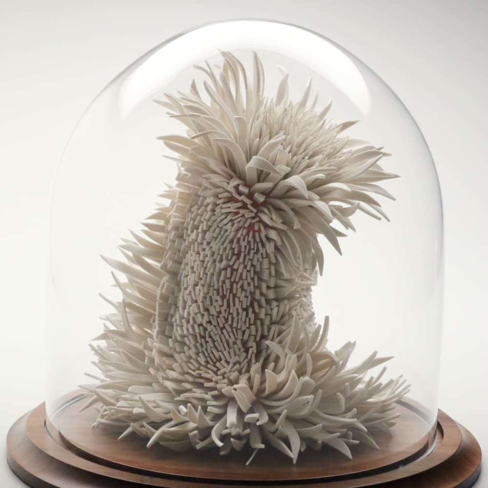 Zemer Peled  Flowered Lions 3, 2015  Porcelain shards, fired clay  28 x 25.5 x 17 cm 11 1/8 x 10 1/8 x 6 3/4 in.