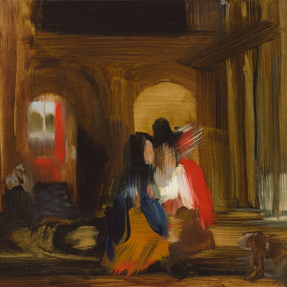 Elise Ansel  Walking (after Pieter de Hooch), 2015  Oil on Linen  27.9 x 35.6 cm 11 x 14 in.