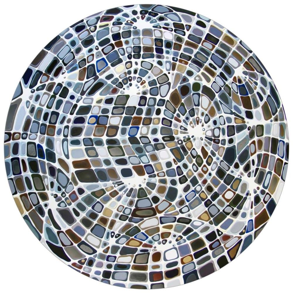 Klari Reis  Musings in Neutral, 2014  Mixed media and epoxy polymer on floating aluminium panel  Diameter: 152.4 cm Diameter: 60 in.