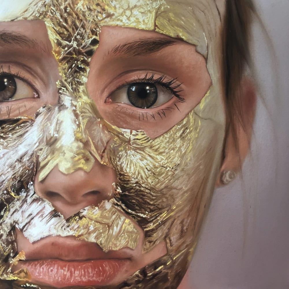 Oliver Jones  Gold Leaf Face Mask, 2016  Pastel on Paper  47 x 47 cm 18 1/2 x 18 1/2 in.