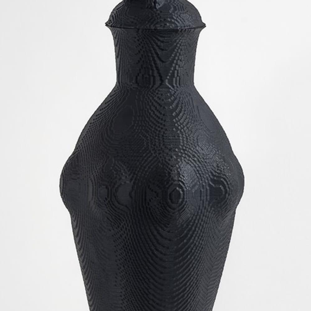 Matt Davis  'Li-ion' lidded vessel, 2017  Black porcelain  42 x 16 cm  16 1/2 x 6 1/4 in.