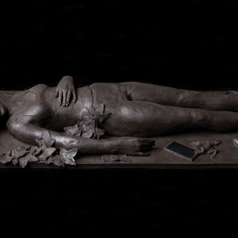 Claire Partington  Sleeping Beauty, 2017  Black stoneware panel  9 x 58 x 22 cm  3 1/2 x 22 7/8 x 8 5/8 in.