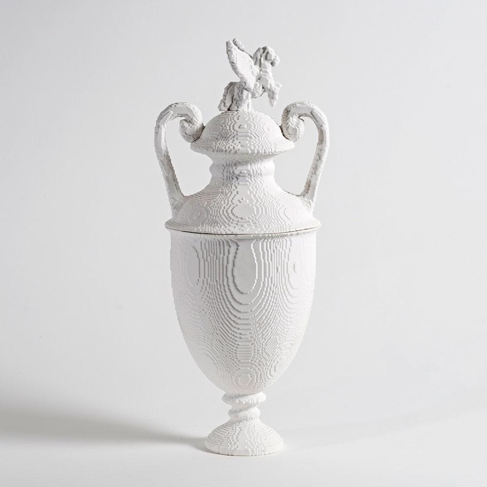 Matt Davis  'Wedesus' lidded urn, 2017  Bone china  38 x 17 cm  15 x 6 3/4 in.