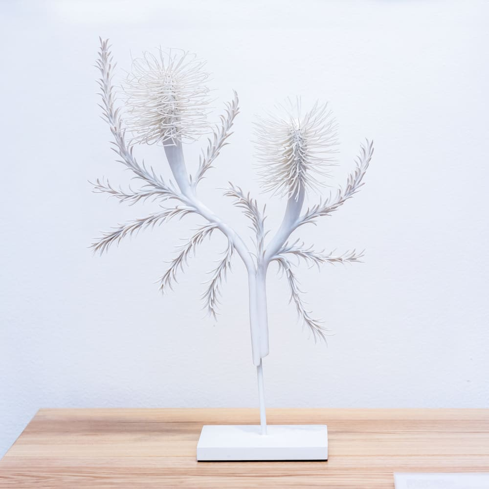 Alice Couttoupes  Heath Banksia, 2017  Porcelain, steel stand  40 x 24 x 10 cm  15 3/4 x 9 1/2 x 4 in.