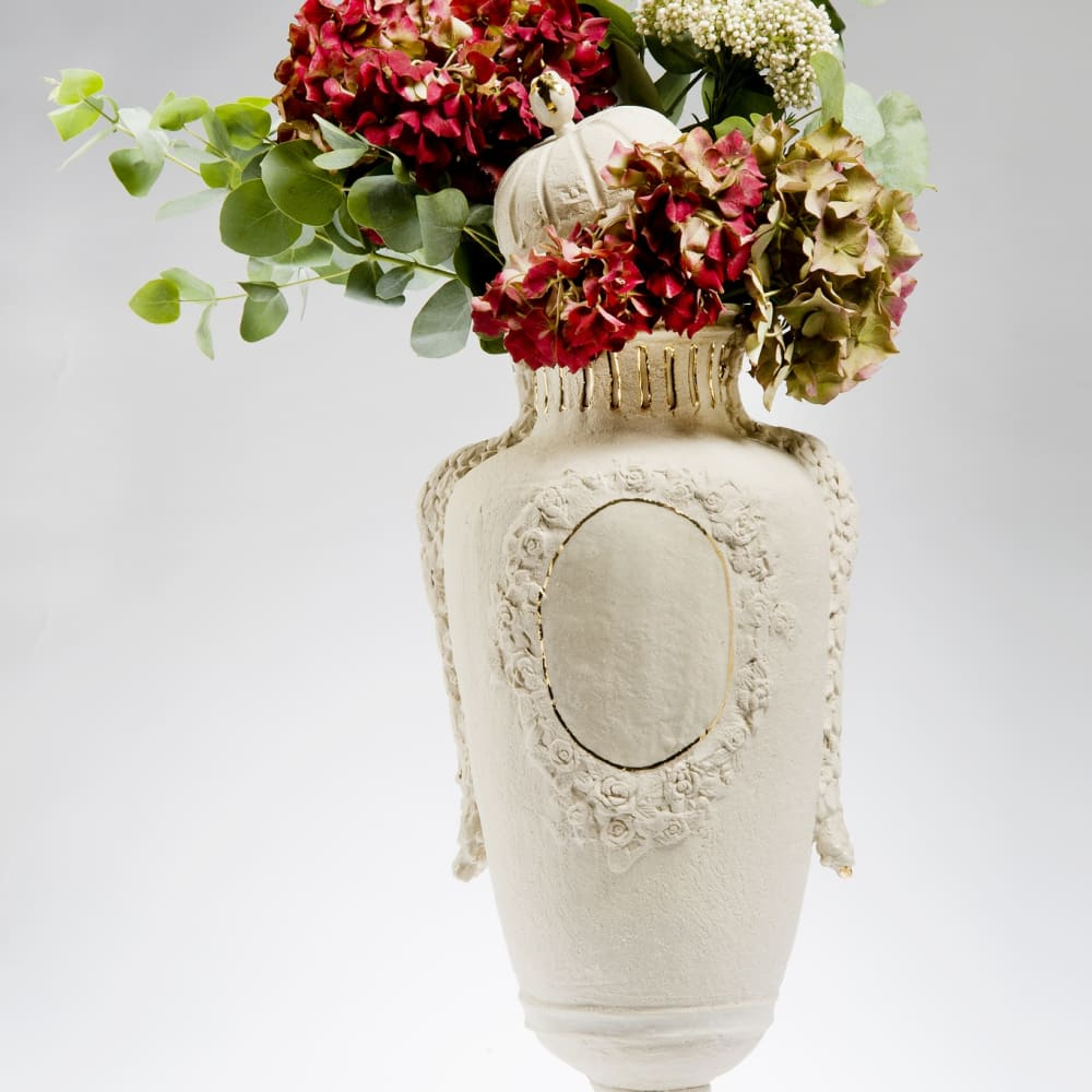 Amy Hughes  Trésor Découvert Series; Lidded Earthstone Vase, 2014  Hand built grogged stoneware body, transparent glaze with 22 carat gold lustre, parian cast flower additions  44 x 24 cm 17 3/8 x 9 1/2 in.