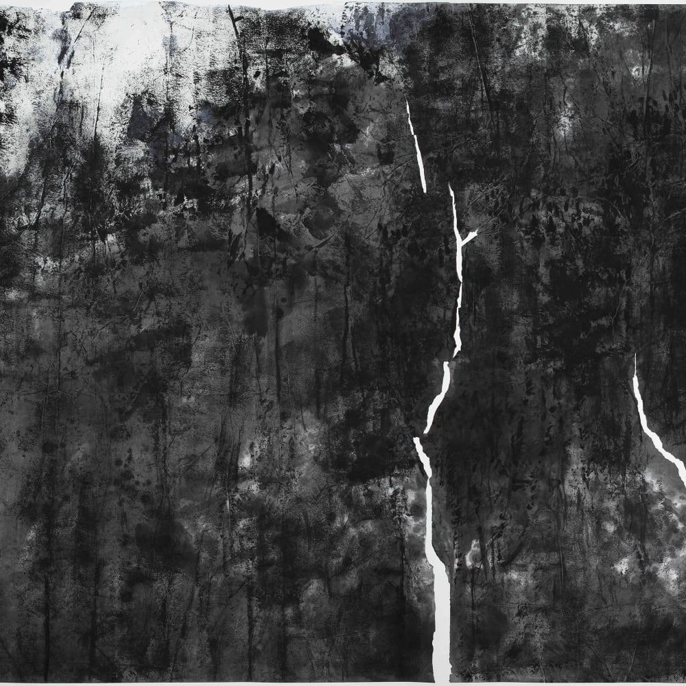 Wang Gongyi 王公懿  Fairbanks Under the Solstice 阿拉斯加 - 冬至, 2019  Ink and Pastel on Xuan Paper  水墨、粉彩、宣紙  145.7 x 322 cm