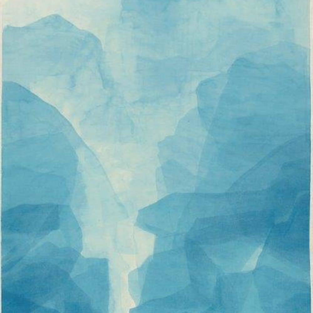 Wang Gongyi 王公懿  Blue Mountains 1028, 2016  Watercolor on Xuan Paper  173 x 94 cm