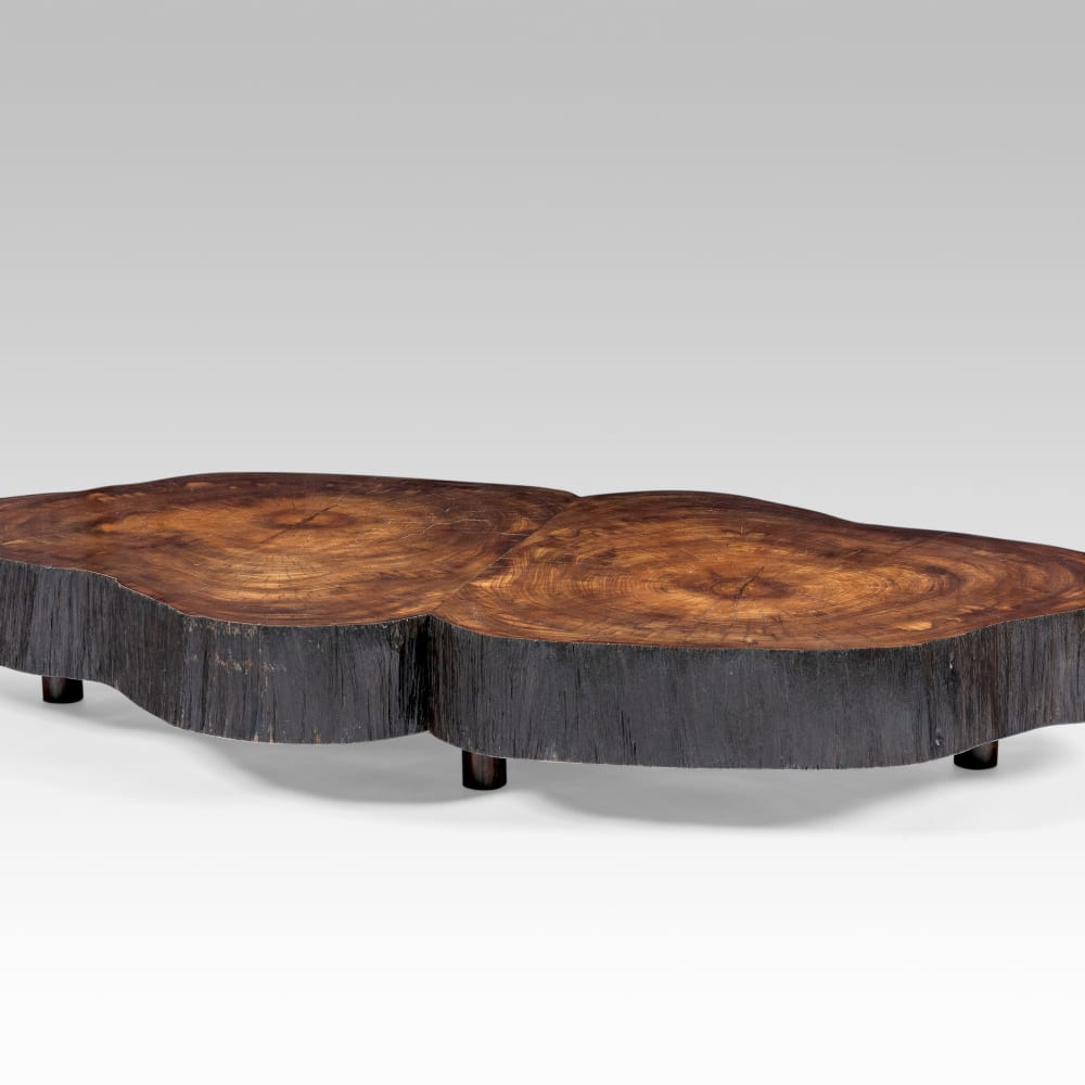 "Joaquim Tenreiro  Oval Coffee Table from solid ""trunk"" furniture series, 1955  Top in Pau Amarelo wood & rosewood feet  171 x 88,8 x 26 cm"
