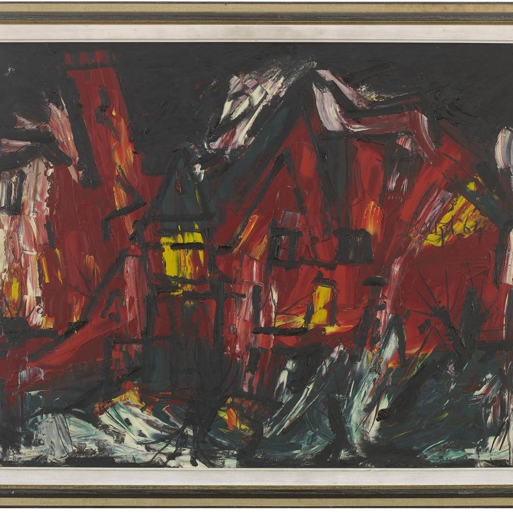 Francis Newton Souza, Red Townscape, 1964
