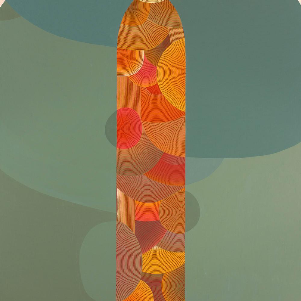 Jenny Kemp  Life Slice, 2018  acrylic on linen mounted on panel  50 x 40 inches
