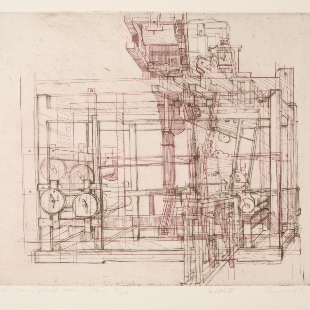 Ian Westacott and Raymond Arnold  Vaucamson's Loom, Paris, 2003  etching  40cm x 50cm  4 of 20